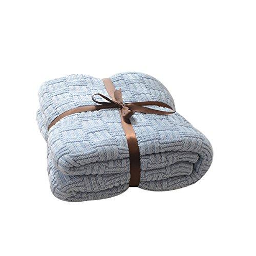 MYLUNE HOME 100% Coton Couverture Tricot mérinos élégante de Luxe pour Regarder la télévision ou la Selle sur Chaise, canapé et lit,Double Face Couvertures (180x200cm,Blue)