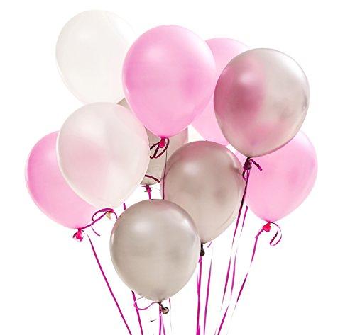 PuTwo Luftballons Rosa Weiß Silber, 100 Stück 12 Zoll Luftballons Satz von Luftballons Rosa Pinke Luftballon Luftballons Silber und Luftballons Weiß für Hochzeitsdeko, Deko Taufe, Deko Geburtstag