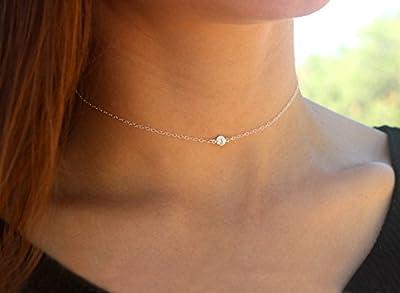 Collier en cristal de zircon brillant collier court simple et délicat
