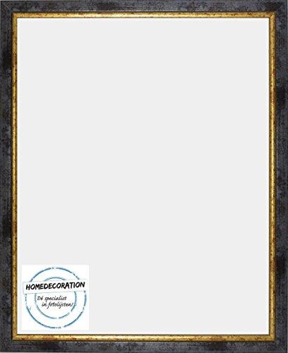 Napoli Bilderrahmen Massivholz mit vintage patiniertem Cottage Look und goldfarbener Innenkante 62 x 106 cm hochwertige Leiste 106 x 62 cm Farbwahl hier: Blaugold mit Acrylglas Antireflex 1 mm