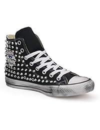 eb3557d37e0a3 21 Shoes Converse all Star Nera Borchiate (Artigianali) con Borchie Tronco  Cono Argento con