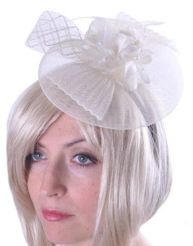 Rose Noeud Filet Fleur Facinator Femme Serre-Tête Mariage Accessoire - blanc cassé, Taille Unique