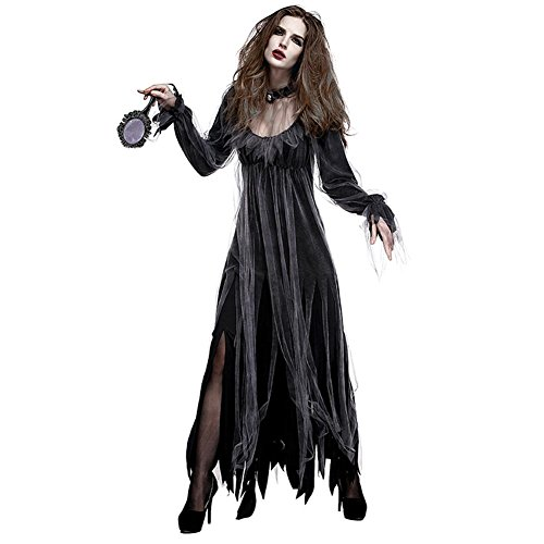 Frauen Black Ghost Zombie Kleid Halloween Friedhof Braut Kostüm Bar Party Bühne Vampire Demon Cosplay Kleid (Friedhof Zombie Kostüm)