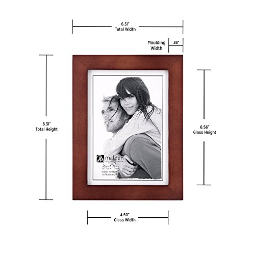 Malden 5x7 Picture Frame - Wide Real Wood Molding, Real Glass - Dark Walnut