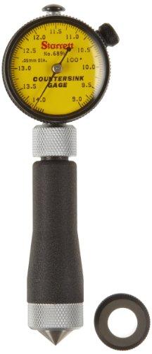 Starrett 689m-3z Millimeter Lesen Kegelsenker Gauge mit Zifferblatt Gelb, 100° Winkel, 9–14,2mm Range
