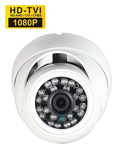SKYVIEW 1080P Überwachungs Sicherheitkamera, 2.0MP TVI/CVI/AHD/CVBS 4 in 1, 3,6 mm Weitwinkelobjektiv 24 Infrarot LEDs Night Vision IR-Cut Wasserdichte Indoor/Outdoor CCTV Kamera-Weiß Farbe