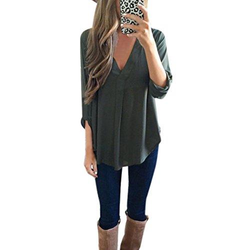 Xinantime - Chemisier à manches longues en mousseline pour femme UK Size:12 Green