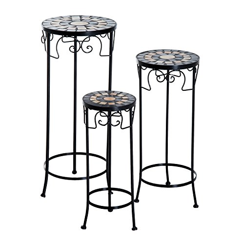 Outsunny 3PC Flower Stand Round Mosaic Plant Stool set Vintage Side Table with Metal Frame