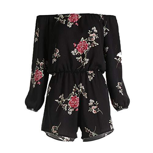 Jumpsuit Damen Sommer feiXIANG Spielanzug Hosenanzüge Langärmelige Print Rückenfreier Plus Size Einteiler kurz Hosen (Schwarz,XL)