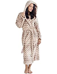 ef47f596c4 CityComfort Ladies Dressing Gown Fluffy Super Soft Hooded Bathrobe for  Women Plush Fleece Perfect for Spa