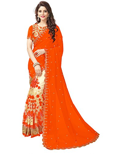 RHMART Women's Georgette Saree With Blouse Piece (Rh-Dv-Orange)
