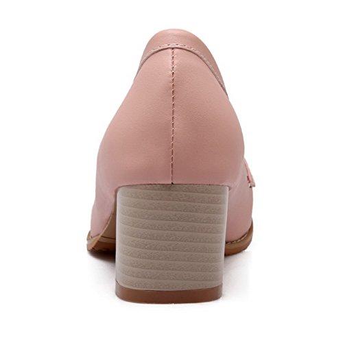 VogueZone009 Femme à Talon Correct Couleur Unie Tire Matière Souple Rond Chaussures Légeres Rose
