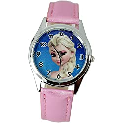 TAPORT® FROZEN Quartz Watch Pink Leather Band Disney +FREE SPARE BATTERY+FREE GIFT BAG