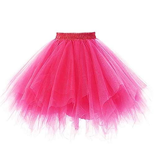 SUPIPARTY Damenrock Mädchen Ballett Tüllrock Partyrock 3-Lagig Tütü Tutu Rock Vintage, 35cm, S, rosa SP-11031 (Rosa Tutu Für Frauen)