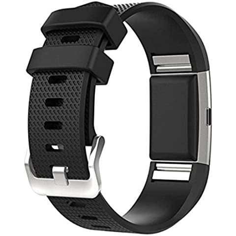 Charge 2 Band Replacement, SoftFloat Classic Silicone Band Accessories Adjustable Strap Belt For Fitbit Charge 2 Heart Rate Fitness Wristband, 15 Colors -(black)