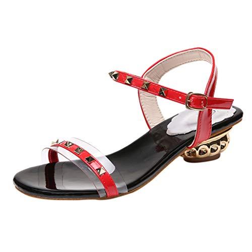 Qmber Damen Extreme High Heels Sandalen Riemen Damenschuhe High Heel Sandaletten Rivet verzierte römische Strassschuhe/Red,35 -