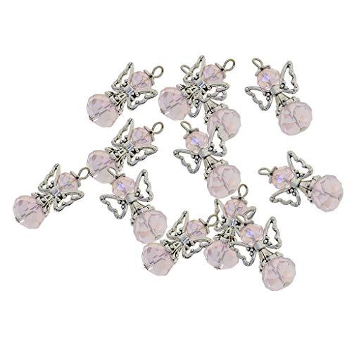 (Baoblaze 12 Stück Tibetische Silber Flügel Schmuckzubehör Basteln Charms Anhänger Für Halskette Armband - Rosa)