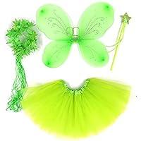 """Costume bambina """"Farfalla"""" - Tante Tina – Set di 4 pezzi – Con ali da fata o farfalla – Verde con coroncina - Ali Di Una Farfalla"""