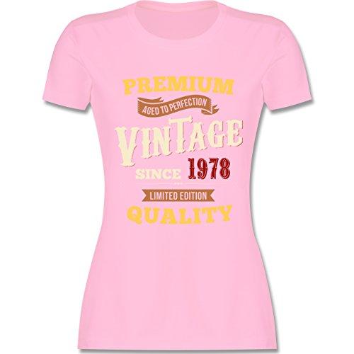Shirtracer Geburtstag - 40. Geburtstag Vintage 1978 - Damen T-Shirt Rundhals Rosa