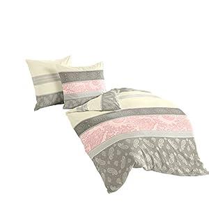 Bierbaum Bettwäsche 4972, Fein-Biber, Made in Germany, rosa 06, 200x200 + 2x 80x80 cm, für das Doppelbett