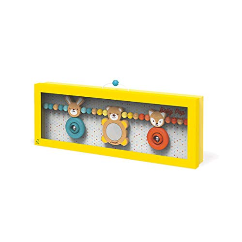 Janod J04611 Baby Pop Kinderwagenkette Hase, Bär & Fuchs (Holz Mit Silikon), Mehrfarbig
