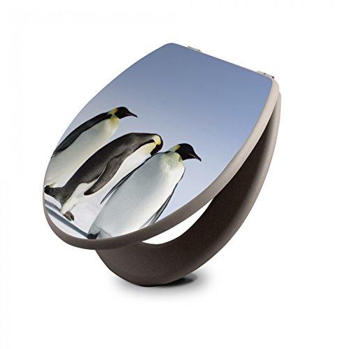 banjado Design Toilettensitz in Taupe | WC-Sitz Holz MDF 42,3x3,5x37,5cm | Klodeckel mit Edelstahl Scharnieren | Toilettendeckel mit Motiv Pinguine (Pinguin-toiletten)