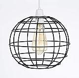 Luxa Lighting Rund Metall Draht Käfig Stil Licht Schatten, Funky Retro Moderne Industrielle Vintage Look, Easy Fit Schwarz