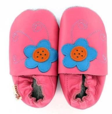 Cuquito doux chaussons bébé Chaussures premiers pas chaussures de bébé Poussoir de Cuir cuir Rose - Rose