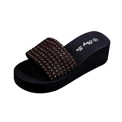 OverDose Frauen Frauen Sommer Schuhe Sandalen Slipper indoor & outdoor (36, Braun)