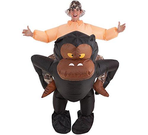 Imagen de disfraz hinchable de explorador montando gorila para adultos