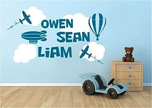 wandaufkleber baum mit fotos Flugzeuge und Wolken Sky Names Owen Sean Lian