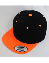 New Yupoong Two-Tone Flat Peak Snapback Baseball Cap (Black/ Neon Orange)
