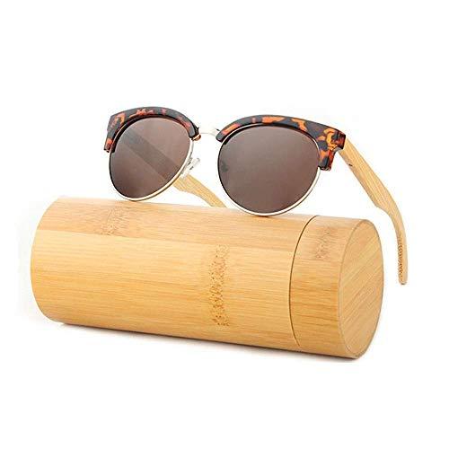 Sonnenbrille Sicherheit, UV400 Super Light Polarizing Eyewear Bambus Beinschutz Umwelt Meine Damen und Herren Fahren Fahrrad Fischen Golf und Outdoor-Aktivitäten (Farbe: Retro Holzmaserung + Tee),R.
