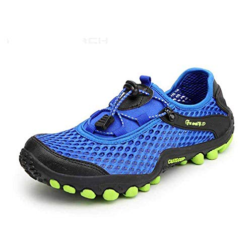 HOTSTREE Men Shoes 2018 Summer Men Sneakers Breathable Casual Shoes Comfortable Mesh Lace-Up Men Trainers Flats Shoes Blue 7.5 -
