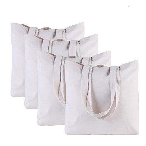 SoEasy 4 Pack uni waschbar wiederverwendbare Canvas Tote Einkaufstasche, Lebensmittels Staubbeutel Reinigungstuch Einkaufstaschen (Tuch Bulk-lebensmittel-beutel)