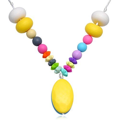 Epinki Mode Baby Kette Lebensmittelechtes Silikon Zahnen Anhänger Halskette Geometrie Rosa Chewelry Mama Kette 80cm