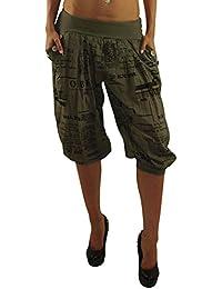 9dc63341d3c8 MODA Made in Italy Kurze Damen Sommerhose Haremshose mit elastischem Bund  Pluderhose Strandhose Pumphose Aladinhose Yogahose