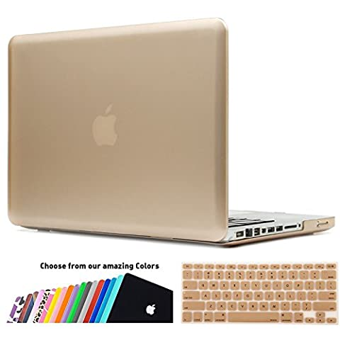MacBook Pro 13 Hülle,iNeseon(TM) 2 in 1 [Frosted Series]Ultra Slim Gummierte Harte Case Cover Shell, US Version Gold Tastatur Abdeckung und EU Version Transparent Tastatur Abdeckung für Apple MacBook Pro 13/13.3 Zoll Aluminum Unibody mit CD-ROM Drive Modell:A1278,NICHT für MacBook Pro 13 mit Retina Display(Gold)