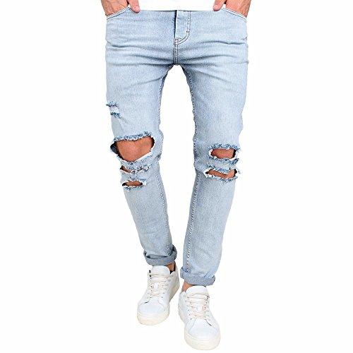 er-Jeans Destroyed Denim Blau Jeanshose Dehnbar Zerrissen Dünn Männer Jeans Hose Zerstört Aufgenommen Slim Fit Jeans ()
