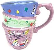 أكواب شاي من Disney Parks Alice in Wonderland بثلاث أكواب مكدسة