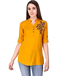 Elyraa Women Girls Top/Short Tunics Embroidered Cotton Top for Dailywear Casual Women/Girls Tops