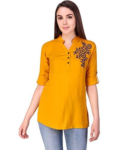 Elyraa Yellow Women Girls Top/Short Tunics Embroidered Cotton Top for Dailywear Casual Women/Girls Tops (Yellow, Large)