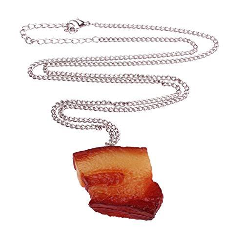 (WeAreAwesome Schinken Speck Fleisch Halskette - ca. 70cm lange Kette - Carne Anhänger Fett Schwarte Mett Hack Retro)