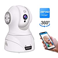 Wireless Security Camera, 1536P 3MP WiFi IP Home Surveillance Camera, Pan/Tilt/Zoom Camera for Pet/Elder/Baby Monitor with Motion Detection, Night Vision, 2 Way Audio, Compatible with Alexa