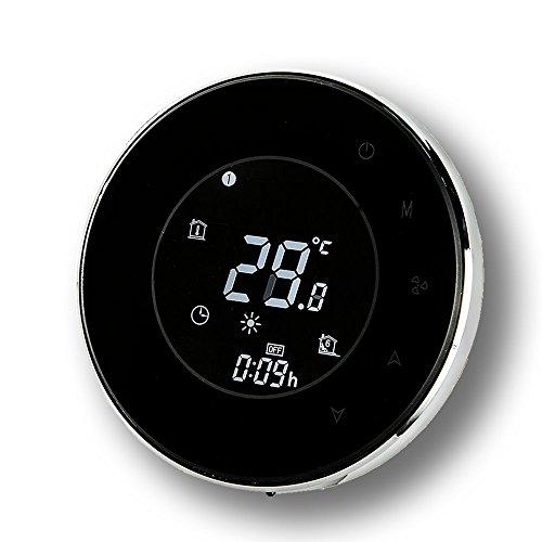 Programmierbarer Thermostat, Arxus Moderner intelligenter runder LCD-Touch Screen 2/4-Rohr-programmierbarer Raum-Thermostat für zentrale Klimaanlage (2-Pipe, Black)