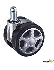 Finch Fox Alloy Pin Twin Caster for Chairs (Black) - Set of 5 Pieces