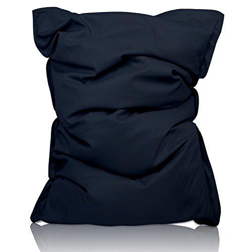 Lumaland Luxury superweicher XXL Sitzsack aus Baumwolle 380l Füllung 140 x 180 cm Indoor Dunkelblau