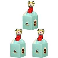 Da.Wa 3X Cajas de Regalo Dulce Cajas Galletas Cajas de Regalo para Navidad Regalos de Cumpleaños y Fiesta Azul 8.5 * 8.5 * 10cm