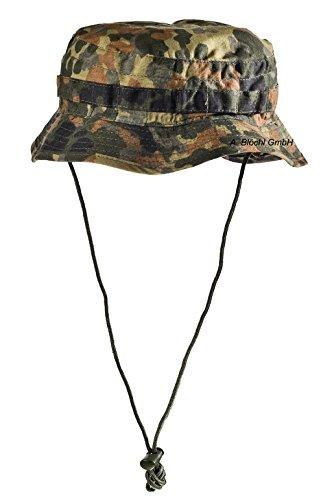 Outdoor Angelhut aus Rip Stop Fischerhut mit Außentäschchen Hat Schlapphut in vielen Farben und Größen (XL, Flecktarn (Typ ()