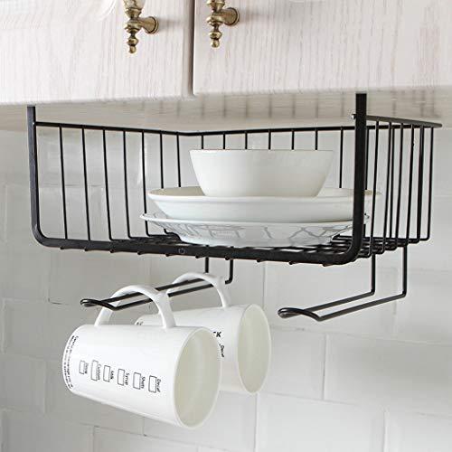 Unter Regal Korb Double Layer Design Hängekorb Rutschen Unter Regalen Draht Ablagekorb für Küche Pantry Schreibtisch Bücherregal -